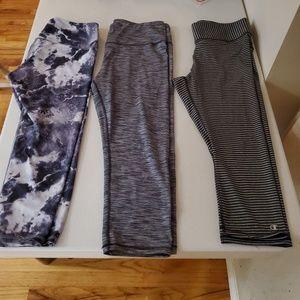 *SET OF 3* grey capri leggings size large
